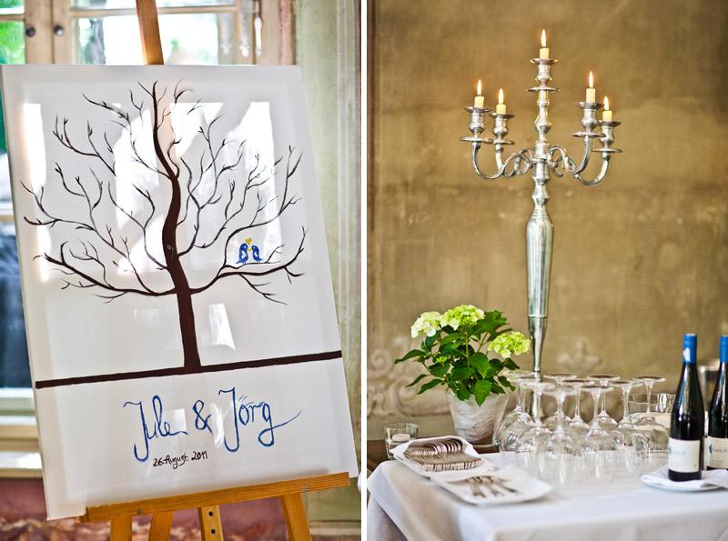 Hochzeitsdeko in der Villa Sorgenfrei